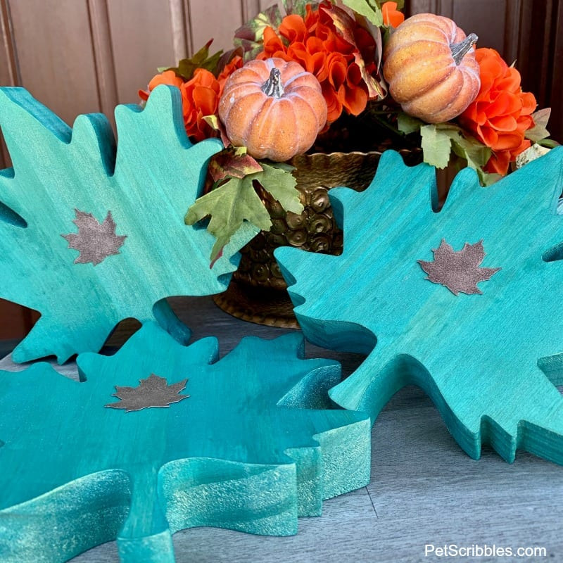 teal wooden leaves