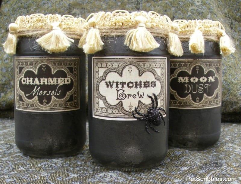 vintage Halloween apothecary jars