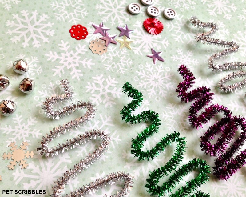 pipe cleaner tree ornaments: sequins, buttons, jingle bells, beads