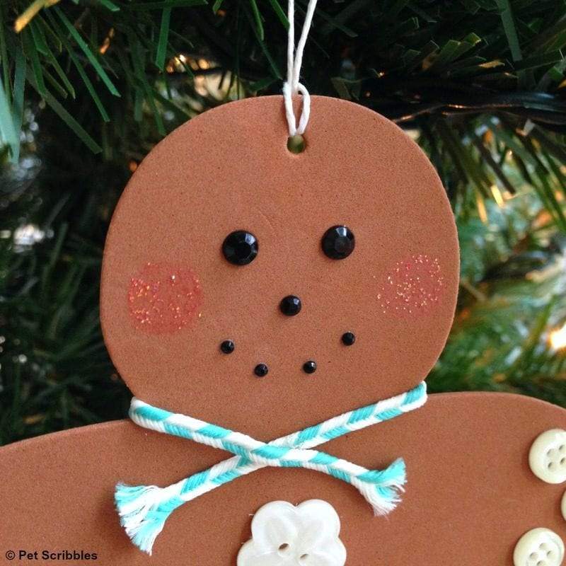 foam gingerbread man ornament face