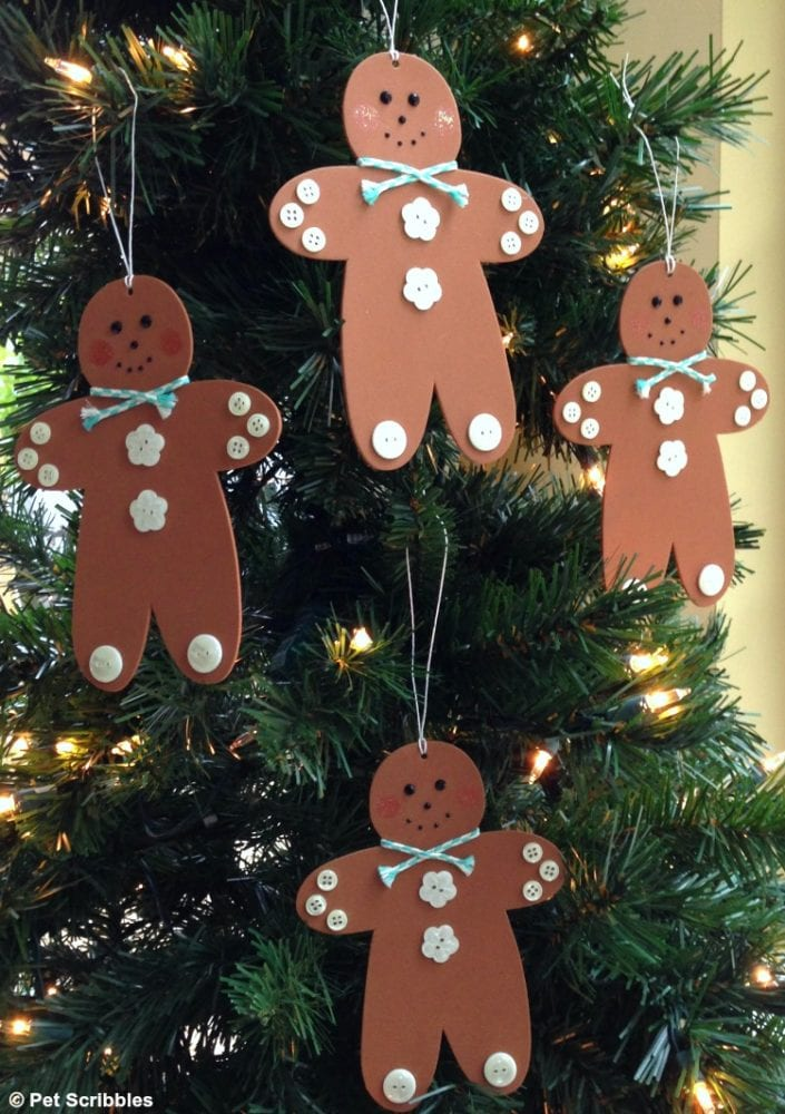 gingerbread men ornaments hanging on tree