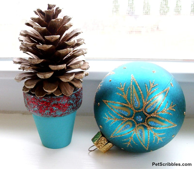 mini pinecone tree in teal pot