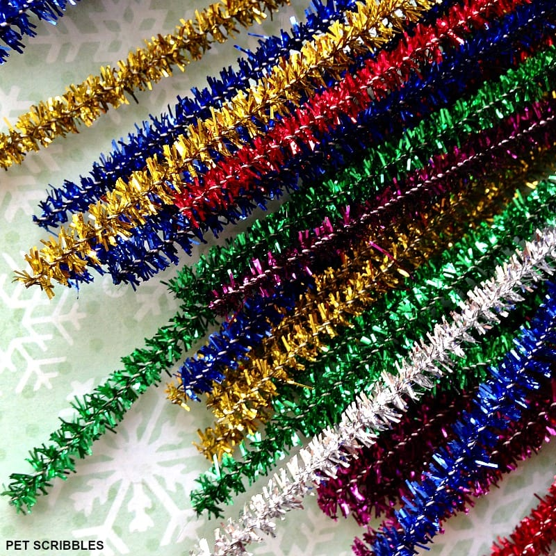 glittery tinsel pipe cleaners found at the craft store