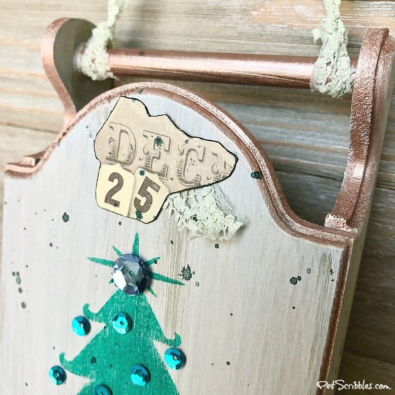 vintage ephemera on Christmas sled
