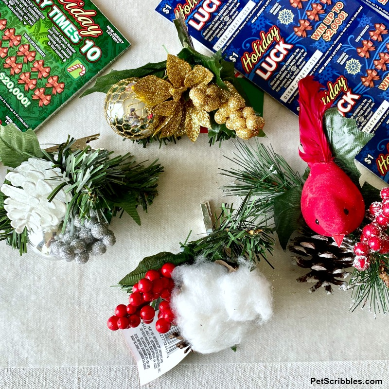 Christmas holiday floral clips from the dollar store