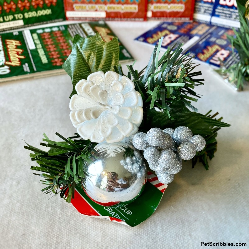 holiday white pinecone floral clip from the dollar store