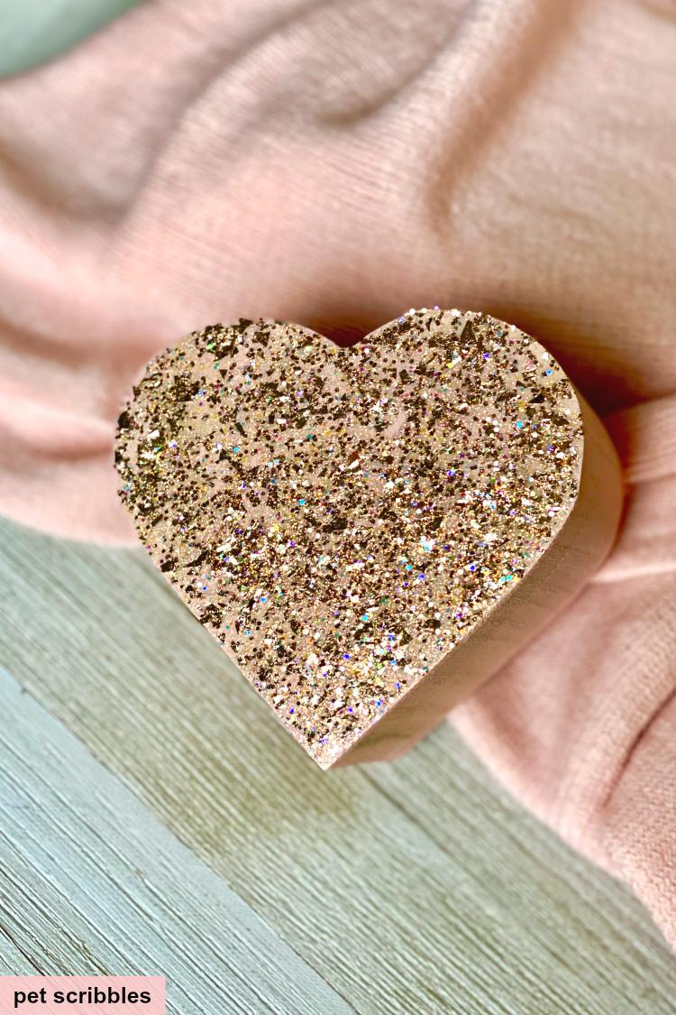 DIY pink heart shaped box