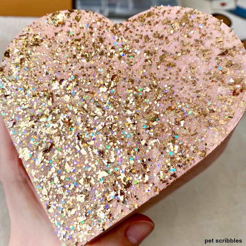 FolkArt Glitterific in Rose Gold on heart box