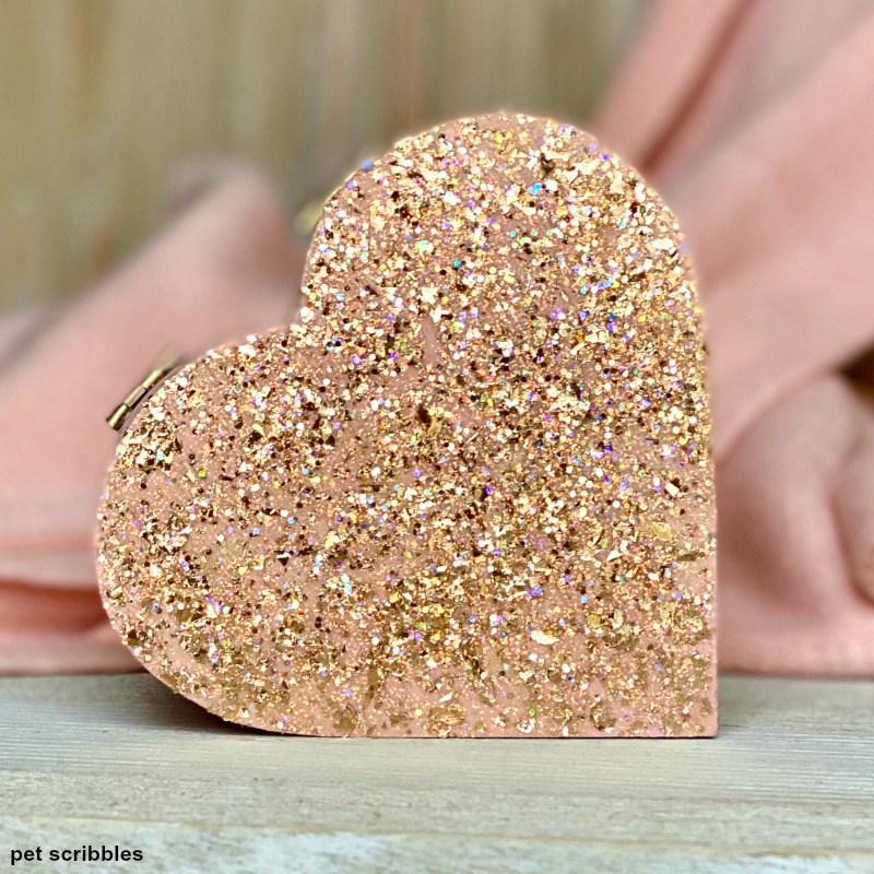 glittered heart shaped box