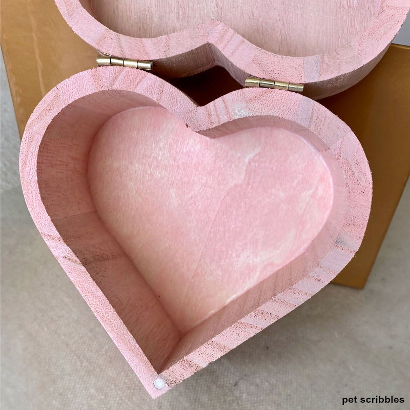 inside of pink wood heart box