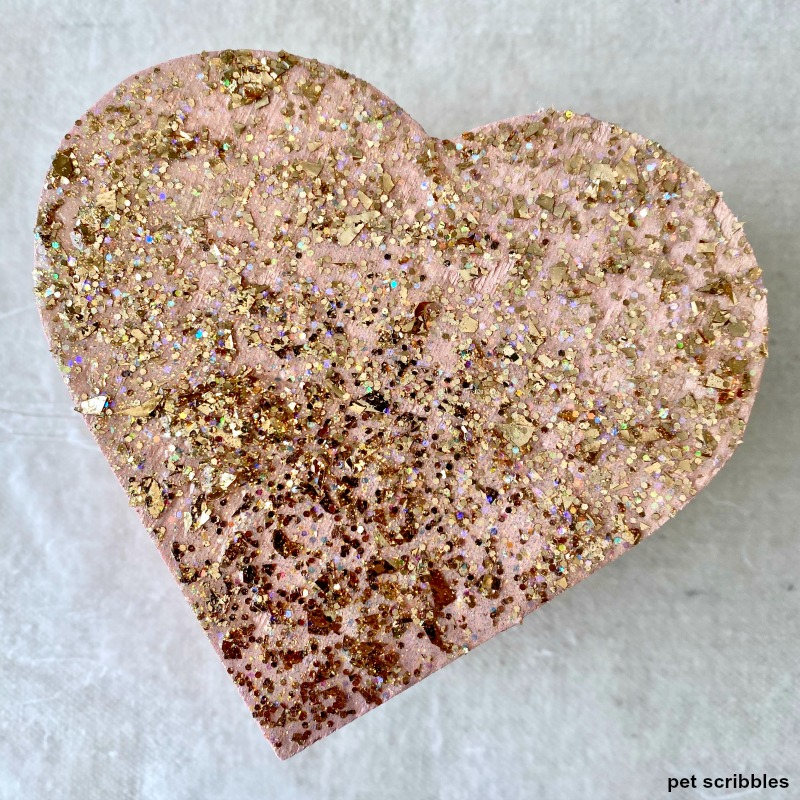 rose gold glitter heart box