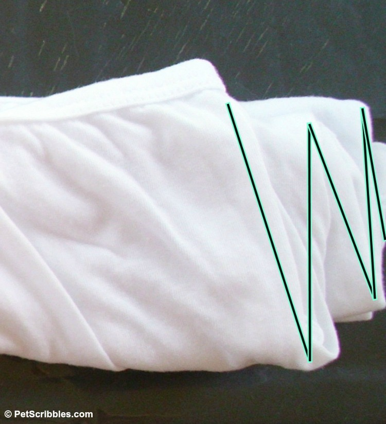 folding top accordian-style for tie-dying technique