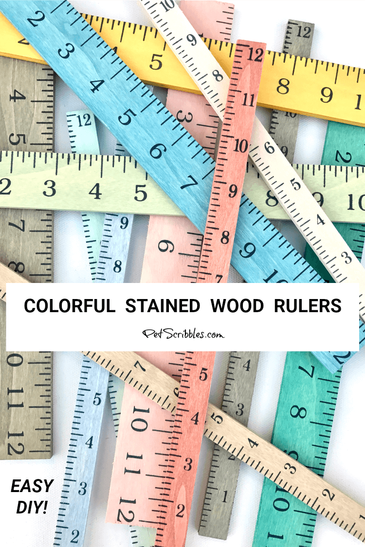 ruler crafts: colorful stained wood rulers