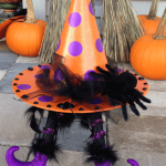 Glitter Polka Dot Witch Hat with Feet!