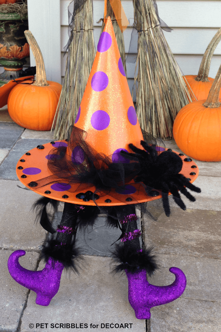 DIY witch hat with witch legs for crafting