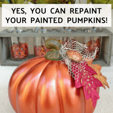 A painted pumpkin can be repainted easily like this metallic one!