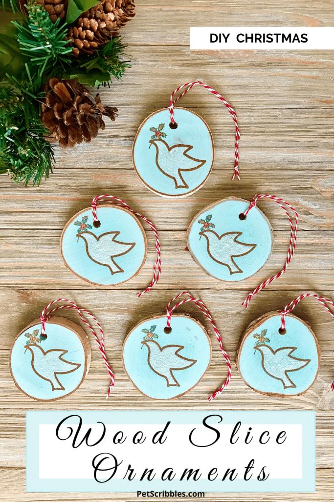 DIY Christmas wood slice ornaments