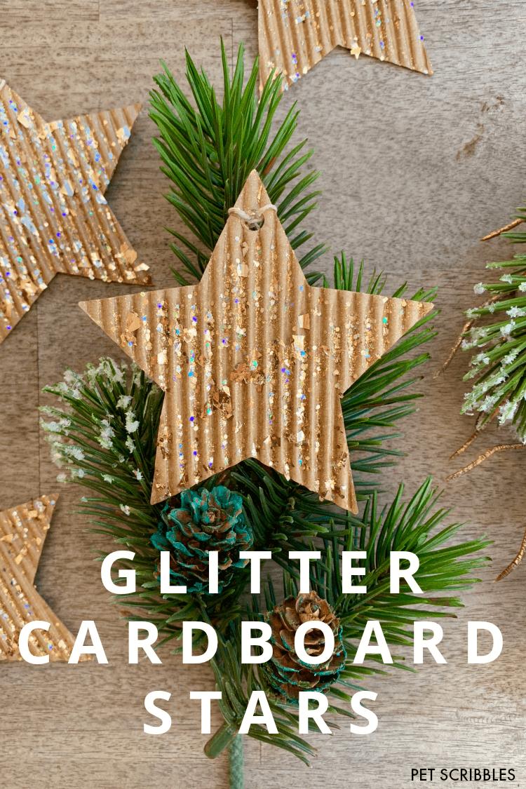 glitter cardboard star ornaments