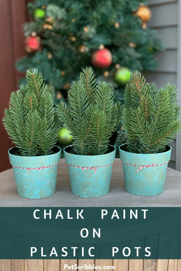 chalk paint on plastic pots makeover