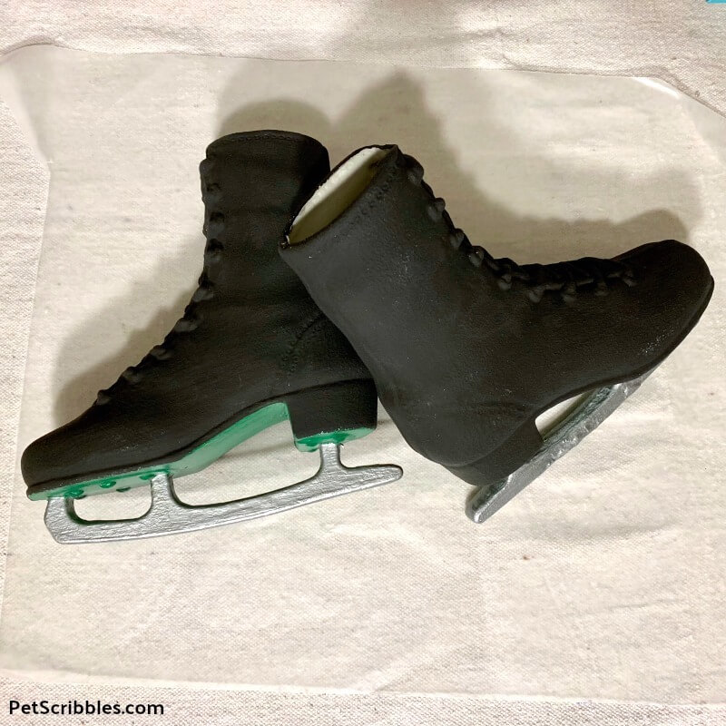 dollar store ice skates painted black with silver blades
