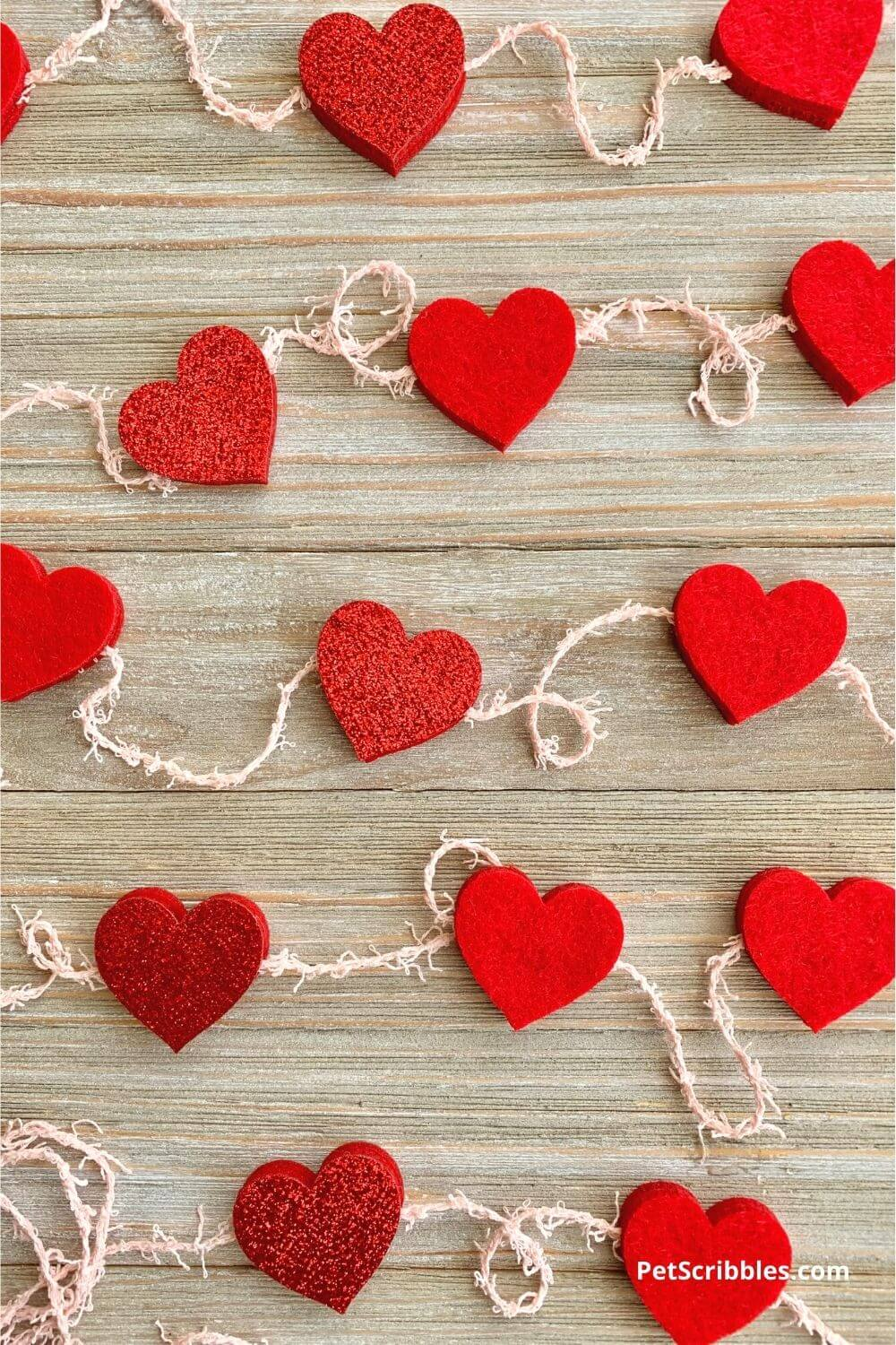 finished easy no-sew felt heart garland