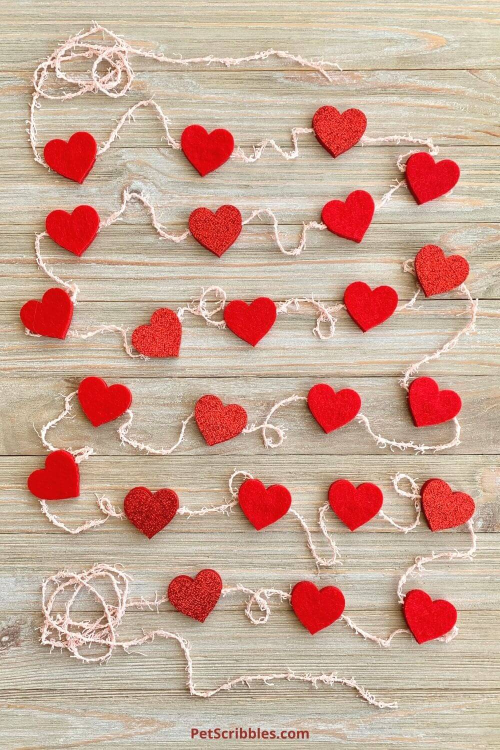 red felt heart garland with pink yarn