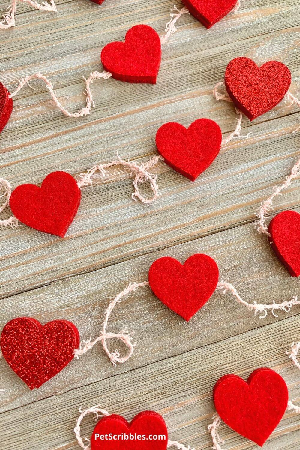 no-sew red felt heart garland