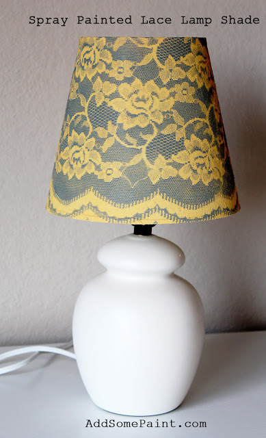 spray paint and lace lampshade