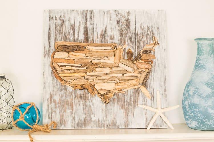 DIY Driftwood USA wall art