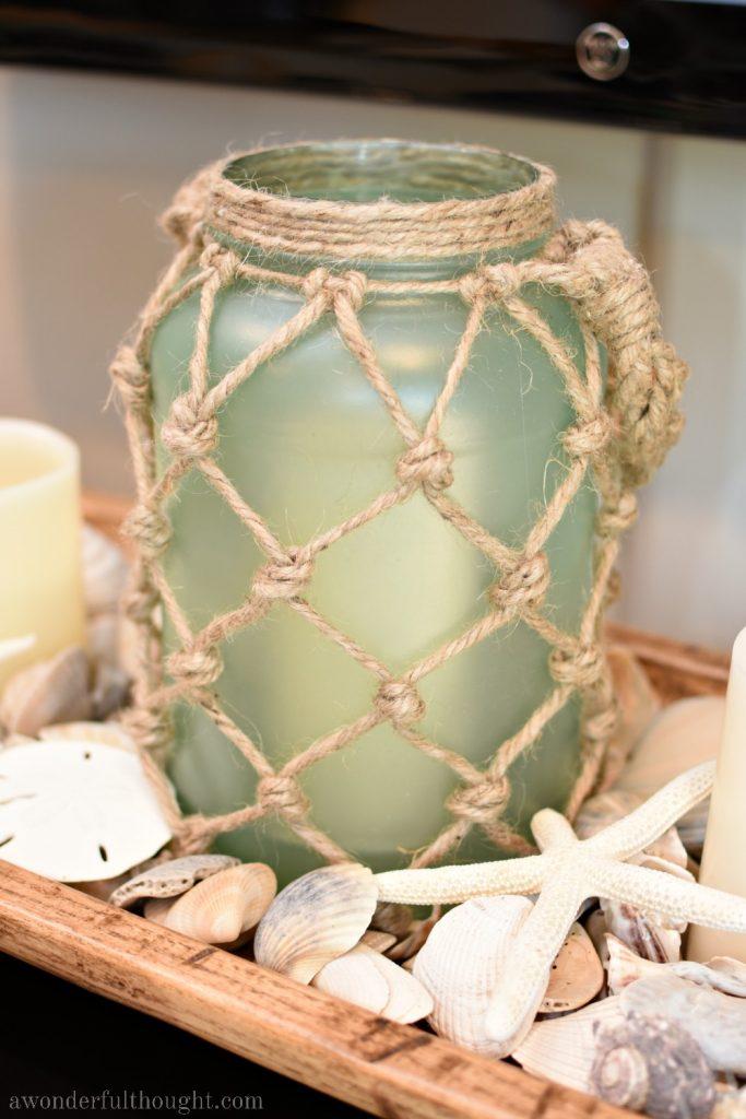 DIY Sea Glass Rope Lantern