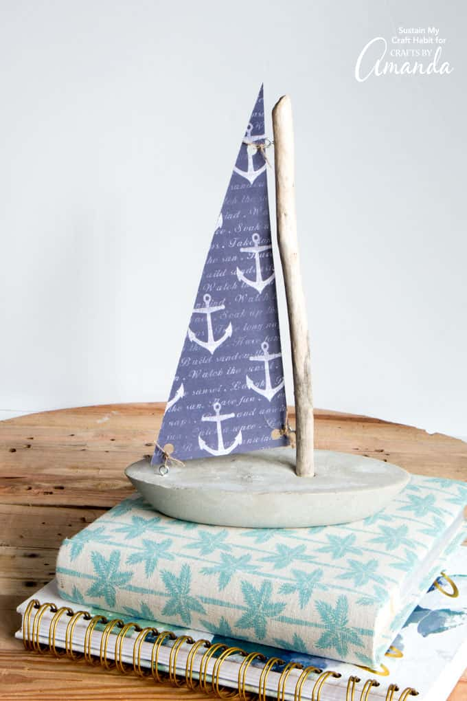 DIY concrete and driftwood sailboat
