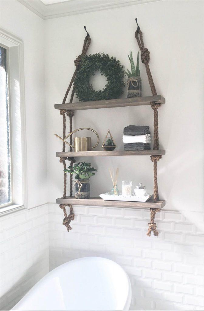 DIY Rope and Wood Shelves