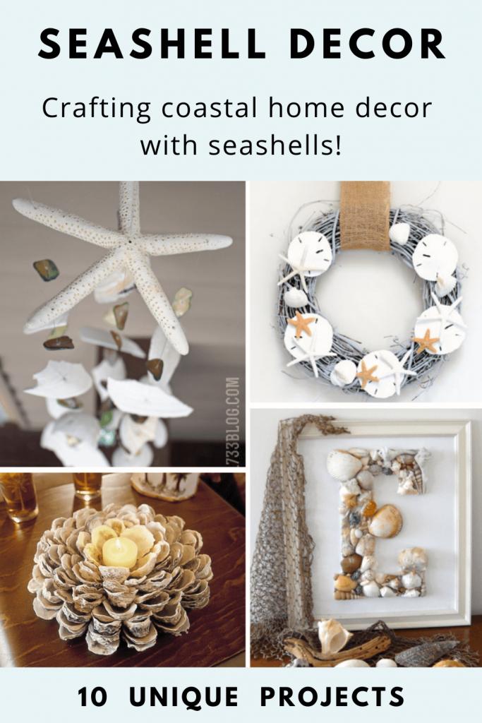 DIY Seashell Decor tutorials for coastal home decor