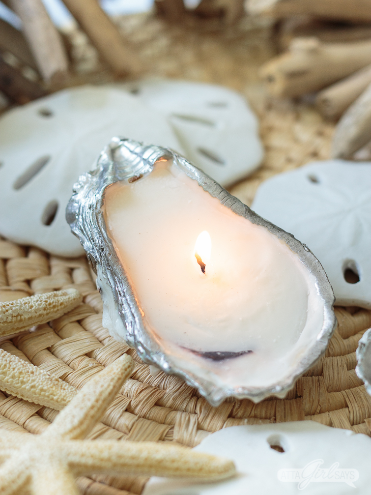 DIY oyster seashell candle
