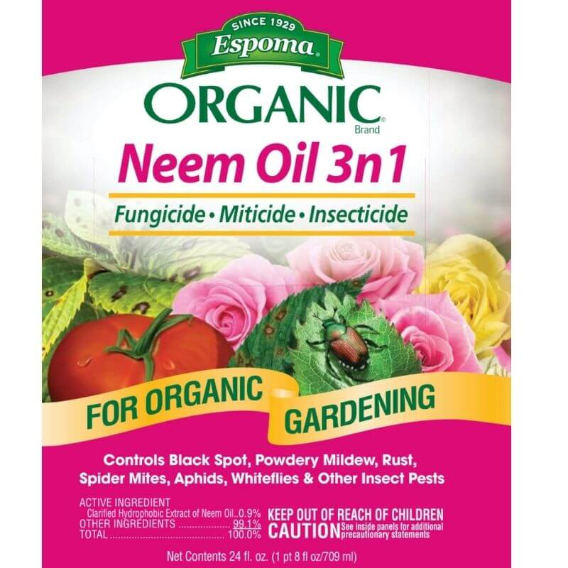 front label of Espoma Neem Oil 3n1